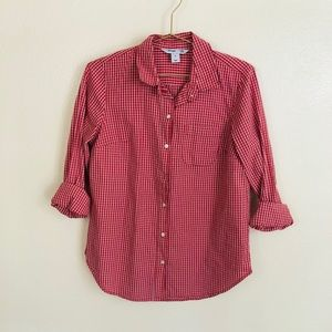 old navy XS classic fit red gingham shirt button